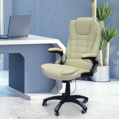 Homcom White Massage office computer desk chair